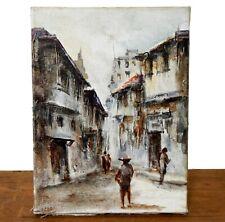 Vintage Mid Century Oil Painting Signed Street Scene Impasto Impressionist