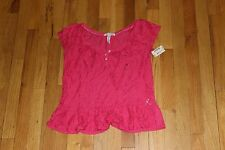 AEROPOSTALE BLOUSE WITH LACE CROCHET FLOWERS SIZE SMALL S/P NEW WITH TAGS