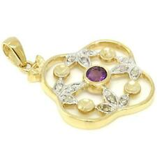 Amethyst & 12 Diamond 9ct 375 Solid Gold Antique Style Pendant - 30 Day Returns