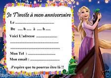 5 cartes invitation anniversaire Raiponce 02  d'autres articles en vente !!