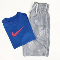 Nike Youth Boys Athletic Basketball Short Shirt Lot Gray Blue Size XS Small S