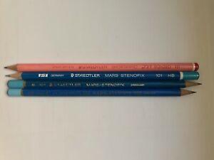 """4 VINTAGE STENO PENCILS: STAEDTLER """"STENOFIX"""" - 3 DIFFERENT VERSIONS + SHORTHAND"""