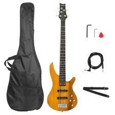Electric 5 String Bass Guitar Full Size Bag Strap Pick Transparent Yellow