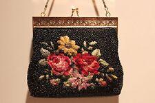 VINTAGE 1960s PETIT POINT BEADED HANDBAG Flowers Ladies Elegant Formal Dressy