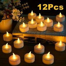 Remote Control LED Flickering Flame Battery Candle Tea Lights with Timer Ivory