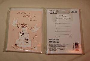 2 Hallmark BRIDAL SHOWER Invitation TWO SHALL BECOME ONE cake dove wedding Bride