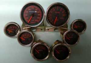 Abarth Gauges -speedo Tacho Oil Pr Oil Temperature Oil Bar Temp Fuel Volt Gauge