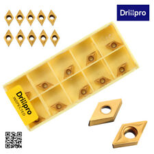 10PCS Drillpro DCMT070204 YBC251 Carbide Inserts For Lathe Turning Tool Boring