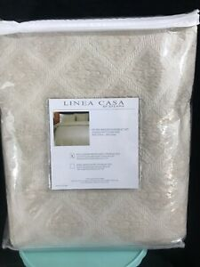 LINEA CASA Sferra Full Queen Matelasse Stone Washed COTTON LINEN Coverlet Set