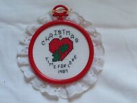 "Hand Made Vintage Needlepoint 1987 Ornament ""Christmas Time for Love"" 3.5"""