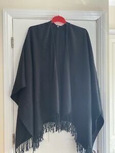 Ladies Black Fringed Shawl by Accessory Street One Size