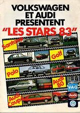 Catalogue publicitaire VOLKSWAGEN AUDI 1983 scirocco golf polo quattro 80 coupe