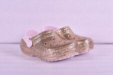 Little GIrl Crocs Classic Glitter Lined Clogs, Gold w/ Pink Lining