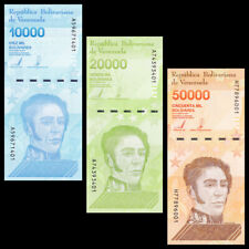 Set 3 PCS, Venezuela 10000 20000 50000 Bolivares, 2019, Thin Thread, UNC