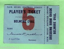 #D134.  1960s RUGBY LEAGUE PLAYER'S TICKET, SOUTH SYDNEY INTO BELMORE OVAL