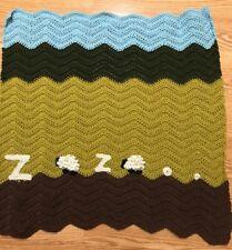 NEW Hand crocheT baby blanket/lap afghan-BOY/GIRL SHEEP ZZZ #NAPS SHOWER GIFT