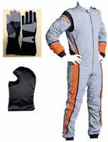 Go Kart Cordura Race Suit-Silver-Orange-Grey- Free (Gloves & Balaclava) Offer