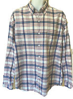 J Crew Mens Long Sleeve Button Down Front Shirt Red White & Blue Plaid XL