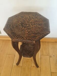 Liberty & Co of London Japanese Fruitwood Carved two tier side Table C1890-1905