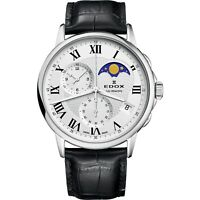 NEW Edox Les Bemonts Men's Moon-Phase-Calendar Watch - 01651-3-AR