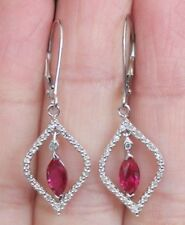 NEW 10K Ruby & Diamond Marquise Flame Leverback Dangle Drop Earrings White Gold
