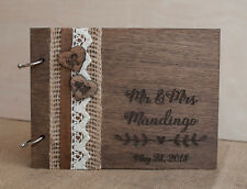 wedding guest book A5, hearts guest book, wood guest book, rustic guest book