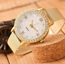 Classy Women Watch Crystal Roman Numerals Gold Mesh Band Ladies Wrist Watch