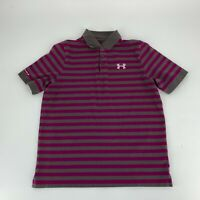 Under Armour Youth Boys Polo Shirt Size XL Gray Stripe Charged Cotton Heat Geat