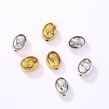 50/100pcs Alloy Oval Loose Spacer Beads Religious Faith Jesus Figure Beads Charm