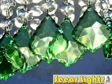 GREEN LEAF CHRISTMAS TREE CHANDELIER GLASS CRYSTALS 6 DROPLETS BEADS DECORATIONS