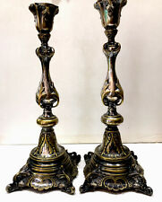 STUNNING Antique Art Nouveau  Silver Plate Polish SABBATH Candlesticks Late 19c