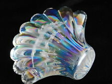 Vintage Iridescent Clear Art Glass Clam-shell Scallop Paperweight Heavy Glass