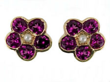 ER294 Genuine 9K Yellow Gold NATURAL Rhodolite Garnet Pearl Daisy Stud Earrings