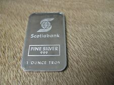 Rare 1 oz Johnson Matthey SCOTIA BANK silver bar - Serial 001471