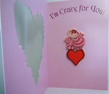 Disney Auctions Cheshire Cat LE Pin & Valentine Card Alice in Wonderland DA Rare