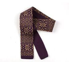 Mens Knitted Tie - Purple Brown Fair Isle Skinny Woven Necktie - New Slim Knit