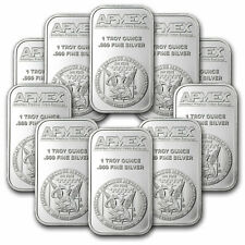1 oz Silver Bar - Apmex (Lot of 10 Bars) .999 Fine Silver