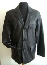 Para Hombre Cuero Negro Lounge chaqueta M - # 2950