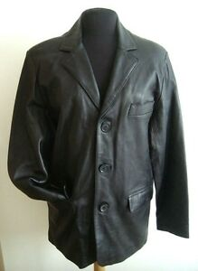 MEN'S BLACK LEATHER LOUNGE JACKET M - #2950