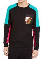 INC Mens Sweater Black Size Medium M Crewneck Front Pocket Colorblock $65 #181