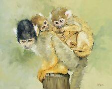Original Oil painting - wildlife art - 3 squirrel monkeys - UK artist j payne
