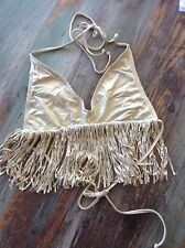 Luli Fama ~ Cosita Buena ~ halter fringe triangle top ~ gold ~ M ~ SEXY ~ SALE ~