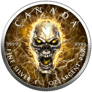 2021 MAPLE LEAF LIGHTNINGS SKULL 1 Oz SILVER COLOR COLORIZED WITH COA