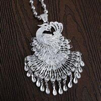 Pure S999 Sterling Silver Best Gift Women Unique Lucky Peacock Pendant