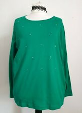 Quacker Factory size XL green long sleeve embellished top NWT