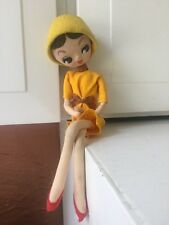 "Vintage 60s SAKURA DOLL Big Eyes JAPAN Bradley Type 10"" Doll Yellow Hat Dress"