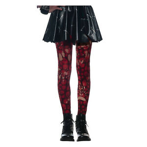 Child Girl's Ripped Torn Red Zombie Skull Gothic Punk Halloween Costume Tights