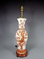 China Chinese Porcelain Vase Lamp Red Rust Enamels w/ Avian Decor ca. 20th c.