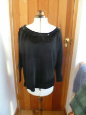 CLEMENTS RIBEIRO 100% MERINO WOOL BLACK SEQUIN BEADED NECKLINE JUMPER L BNWT