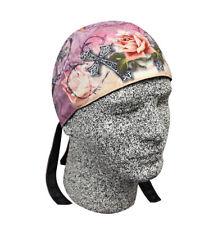 Pink Black Rose Iron Cross Platinum Durag Doo Rag Skull Cap Sweatband Biker Lady